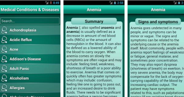 A Diseases Dictionary Medical egy internet nélkül is működő kézikönyv, amiben könnyedén rákereshetsz a betegségekre.